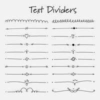 Set di elementi decorativi calligrafici per la decorazione. Illustrazione vettoriale a mano.