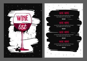 Design della lista dei vini