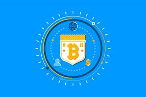 Insieme dell'illustrazione di concetto di sicurezza di Bitcoin