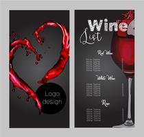 Disegno vettoriale per la carta dei vini.