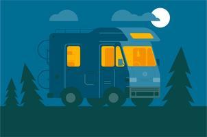 Fondo dell'illustrazione di notte del furgone di campeggiatore vettore