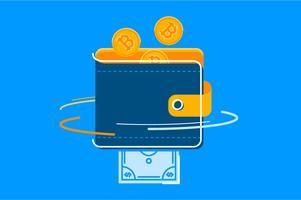Insieme dell'illustrazione del portafoglio di conversione di Bitcoin