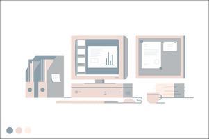 Illustrazione di vettore di area di lavoro aziendale
