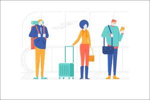 Illustrazione dell'aeroporto di viaggio del carattere della gente vettore
