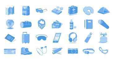 Icone dell'illustrazione degli elementi essenziali di viaggio