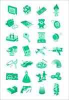 Icone dell'illustrazione dei giocattoli e dei giochi