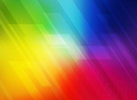 Le linee geometriche diagonali astratte modellano la tecnologia sul fondo variopinto di gradienti dell'arcobaleno.