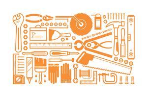 Set di strumenti per costruzione piana vettore