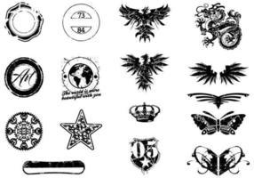 Vari elementi di vettore di Grunge Pack