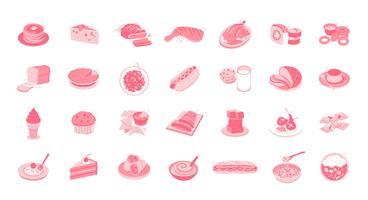 Le icone dell'illustrazione di cibo & delle bevande hanno messo la raccolta