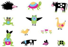 Pacchetto di vettore animale brillante dei cartoni animati