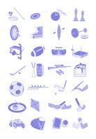 Le icone dell'illustrazione di attività e di sport hanno impostato il pacco