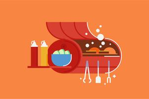 Insieme dell'illustrazione della stufa della griglia del barbecue