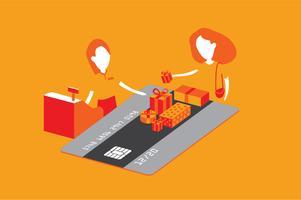 Illustrazione di beneficio dello shopping della carta di credito