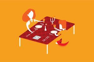 Illustrazione di beneficio pranzante della carta di credito