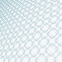 Prospettiva di sovrapposizione del modello delle linee blu astratte dei quadrati su fondo bianco.