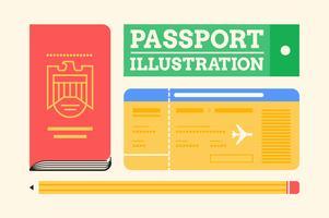 Insieme dell'illustrazione degli elementi essenziali di viaggio del passaporto
