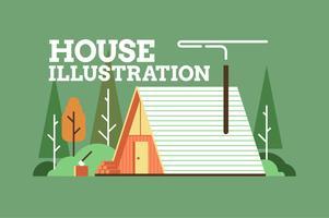 Illustrazione della priorità bassa della costruzione della casa piana vettore