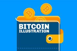 Insieme dell'illustrazione di concetto del portafoglio del bitcoin