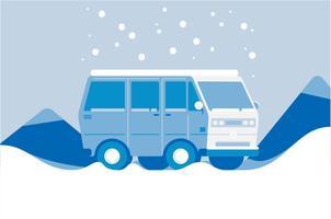Fondo dell'illustrazione di inverno del furgone di campeggiatore vettore