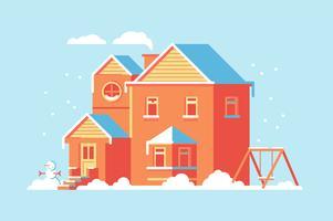 Illustrazione della priorità bassa della costruzione della casa piana