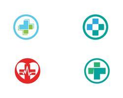 Vettore delle icone del modello di logo e di simboli dell'ospedale