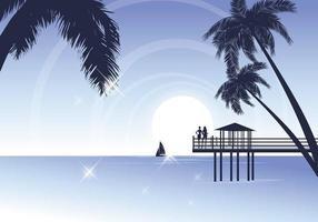 Wallpaper di spiaggia tropicale vettoriale