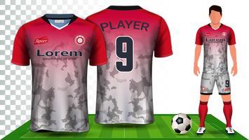 Modello di mockup di presentazione di Soccer Jersey e Football Kit, vista frontale e posteriore, compreso l'uniforme per abbigliamento sportivo.