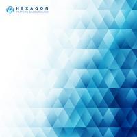 Fondo e struttura bianchi del modello geometrico blu astratto di esagono con lo spazio della copia. Modelli di design creativo.