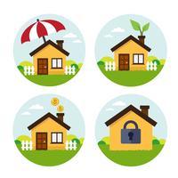 Icone set casa rotonda vettore