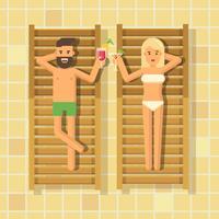 Uomo e donna che bevono cocktail in sedie a sdraio a bordo piscina vettore