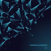 Forme poligonali triangoli astratti su sfondo blu scuro composto da linee e punti sotto forma di concetto di tecnologia di pianeti e costellazioni. Connessione internet digitale