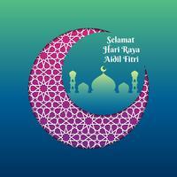Mezzaluna islamica del modello di saluto di Hari Raya con l'illustrazione di vettore della moschea