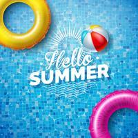 Illustrazione di estate con il galleggiante sull'acqua nei precedenti piastrellati della piscina. Modello di disegno di vacanza estiva di vettore