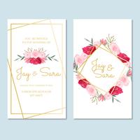Modello di invito di matrimonio con fiori vettore