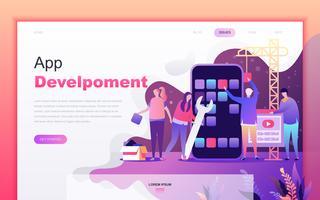 Concetto di design moderno fumetto piatto di sviluppo app per il sito Web e lo sviluppo di app mobile. Modello di pagina di destinazione. Carattere di persone decorate per pagina web o homepage. Illustrazione vettoriale