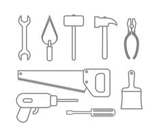 raccolta di icone set strumenti di costruzione stile contorno vettore