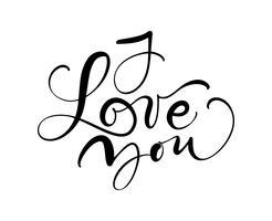Ti amo testo di calligrafia vettoriale. Frase disegnata a mano disegno romantico giorno di San Valentino. Scritta a mano pennello moderno
