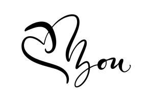 Ti amo. Ti amo. Vector il testo di calligrafia del giorno di biglietti di S. Valentino per la cartolina d'auguri. Elementi di design disegnati a mano. Scritta a mano pennello moderno