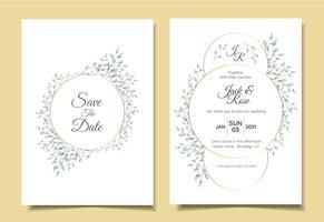 Insieme di invito di matrimonio vintage minimalista di naturale disposizione floreale con cornice dorata elegante cerchio. Modello di schede multiuso come poster, copertina, imballaggio e altro vettore