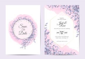Design moderno invito a nozze di rami con foglie blu e sfondo acquerello. Modello di biglietti alla moda Multiuso come poster, copertina, imballaggio e altro