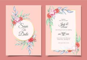 Invito a nozze Set di ornamento floreale dell'acquerello e cornice dorata con elegante concetto di design a colori. Rose e fiori di peonia Salvare la data, il saluto o il modello di scheda multiuso