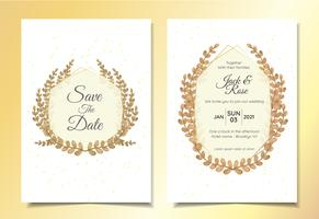 Modello di carte invito a nozze di foglie con telaio e sfondo astratto scintilla vettore