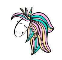 Faccia di unicorno disegnato a mano sveglio. Illustrazione del personaggio dei cartoni animati di vettore Design per carta bambino, t-shirt. Ragazze, ragazzino concetto magico. Isolato su sfondo bianco