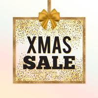 Banner di vendita di Natale glitter oro. Segno di vendita di Natale. Cornice quadrata dorata con fiocco serico.