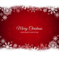 Sfondo rosso di Natale con bordo di fiocchi di neve