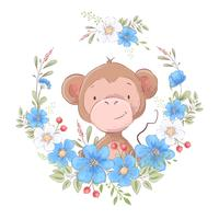 Illustrazione di una stampa per la stanza dei bambini vestiti carino scimmia in una corona di fiori blu. vettore