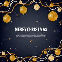 Illustrazione vettoriale di buon natale oro e colori neri posto per testo, palle di natale oro, palline scintillio dorato, ghirlande palla perlata e coriandoli