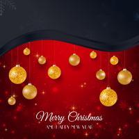 Buon Natale sfondo nero e rosso con palle di Natale oro vettore