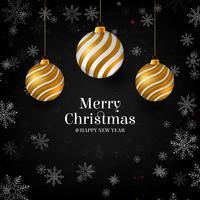 Illustrazione vettoriale di buon natale oro e colori neri posto per testo, palle di natale oro, palline di scintillio dorato e coriandoli